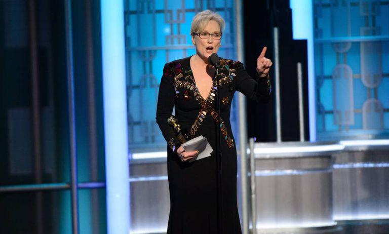 Meryl Streep, durante seu discurso no Globo de Ouro.