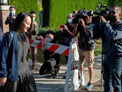 A vice-presidenta da Huawei, Meng Wanzhou, na chegada para uma audiência em Vancouver.