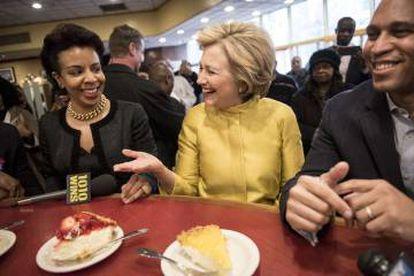 Hillary Clinton em um comício de campanha.