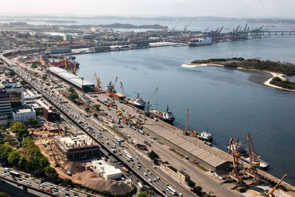 Vista do porto do Rio de Janeiro.