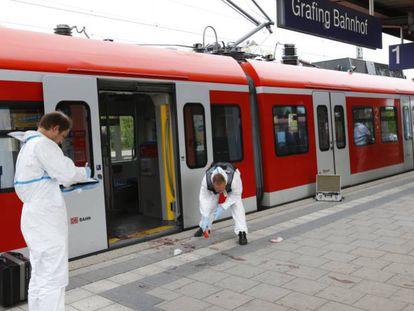 A estação ferroviária e Grafing, perto do local do suposto atentado, nos arredores de Munique (sul da Alemanha).