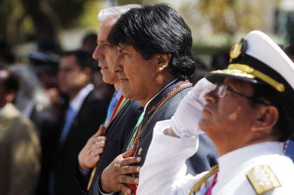 Evo Morales, neste domingo em um ato em La Paz, Bolívia.