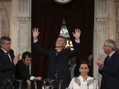 O presidente da Argentina, Mauricio Macri, ao chegar ao Congresso nesta terça.