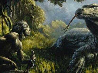 Uma representação do 'Homo floresiensis' enfrentando um lagarto gigante.