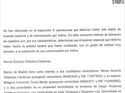 Trecho do relatório do Sepblac sobre o Banco Madrid.