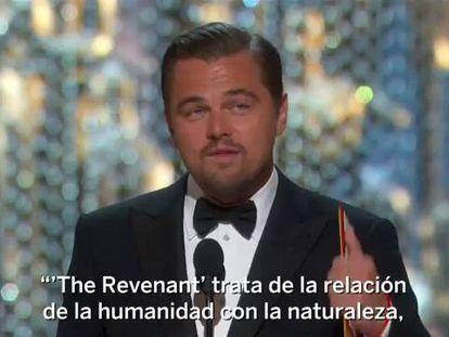 """O discurso ecologista de Leonardo DiCaprio no Oscar: """"O planeta não é algo garantido"""""""