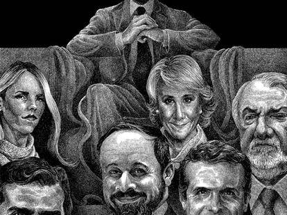 Retratos de líderes da direita espanhola.