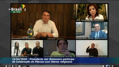 Transmissão online da celebração de Páscoa de Bolsonaro com líderes religiosos.