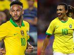 Neymar durante un partido en Los Ángeles en 2019, a la derecha, Marta de Brasil mira durante la Copa Mundial Femenina de la FIFA Francia 2019.