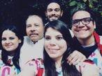 El presidente de Nicaragua, Daniel Ortega, y sus hijos Camila y Maurice Ortega (ambos a la derecha de la imagen) el 19 de julio 2019.