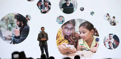 O CEO do Google, Sundar Pichai, em uma conferência em San Francisco em março.