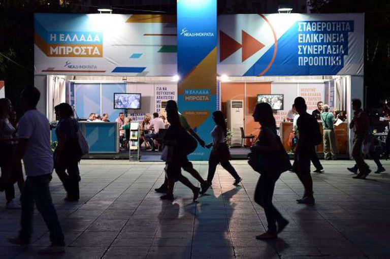 Quiosque eleitoral de Nova Democracia em Atenas.
