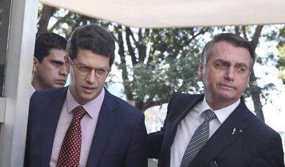O ministro do Meio Ambiente, Ricardo Salles, e Jair Bolsonaro.