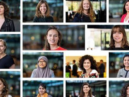Imagens de mulheres da Universidade Técnica de Eindhoven publicadas pela instituição ao anunciar sua política de contratação.