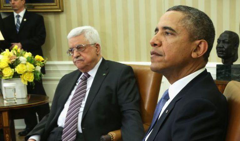 Barack Obama e Mahmud Abbas, no Salão Oval.