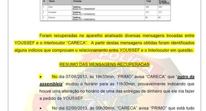 Relatório da PF cita que foram recuperadas mensagens do celular do doleiro Alberto Youssef.