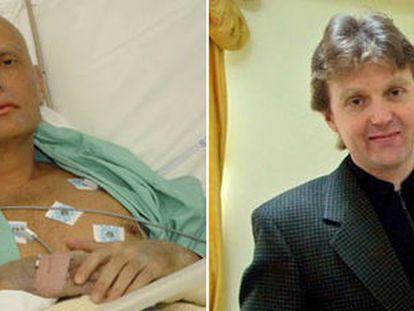 O ex-agente russo Alexander Litvinenko, em 2006, em um hospital de Londres. À direita, com seu livro, em maio de 2002