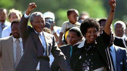 FILE PHOTO 11FEB90 - South Africa turned the page on its violent political past June 2 as it voted peacefully in a watershed election expected to send Nelson Mandela into retirement with a landslide for his ruling party. Mandela is accompanied by his former wife Winnie, moments after his release from prison February 11, 1990 after serving 27 years in jail.    KM/