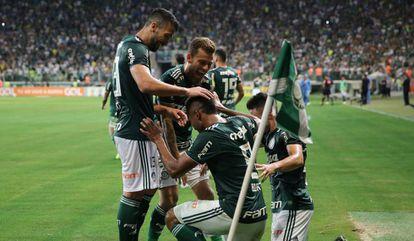Palmeirenses comemoram gol contra o Fluminense, na 35ª rodada.