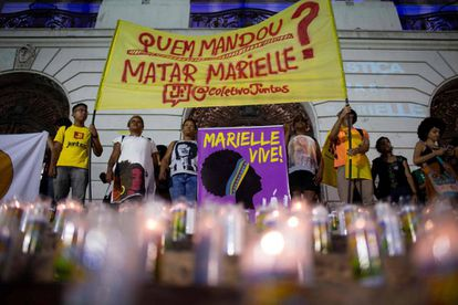 Manifestantes protestam para cobrar investigações sobre quem mandou matar Marielle Franco, no dia 1 de dezembro de 2019.