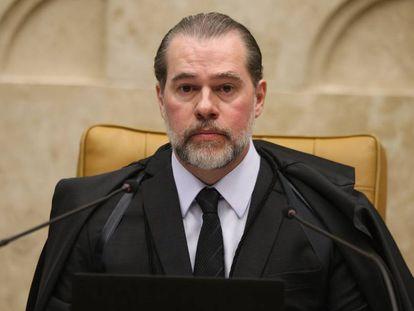 Ministro Dias Toffoli, presidente do Supremo, na sessão desta quinta-feira.