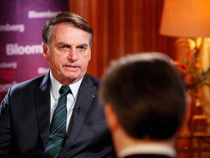 Jair Bolsonaro durante entrevista para Bloomberg nesta quarta-feira