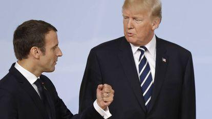Emmanuel Macron e Donald Trump no G-20 de Hamburgo.