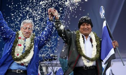Evo Morales em comício em La Paz (Bolívia).