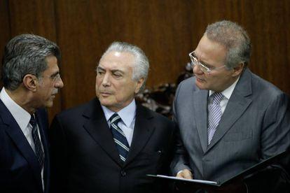 Jucá, Temer e Renan, no Senado.
