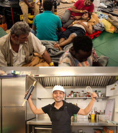 Ali Hazrat no restaurante de Reus (Espanha) onde trabalha.