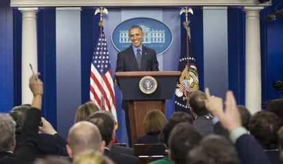Obama, durante a entrevista coletiva de fim de ano