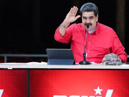 O presidente venezuelano Nicolás Maduro, em um ato do Partido Socialista Unido da Venezuela no último dia 24 de maio.