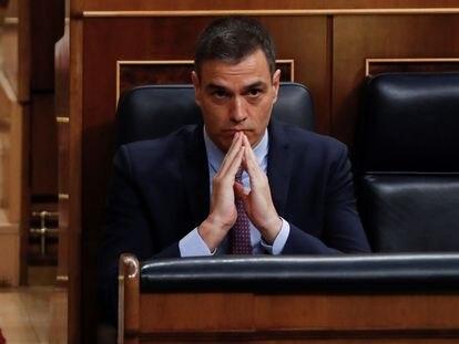 O primeiro-ministro Pedro Sánchez, durante a primeira sessão de questionamento do Executivo no Parlamento, após o fim do estado de alarme, nesta quarta-feira,