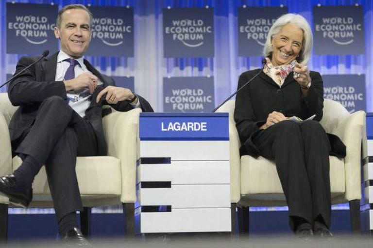 Mark Carney, do Banco da Inglaterra, e Christine Lagarde, do FMI, em Davos.