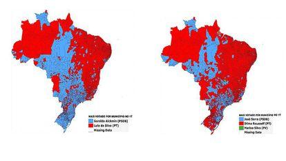 Mapa das eleições por município em 2006 (à esq.) e em 2010 (à dir.)