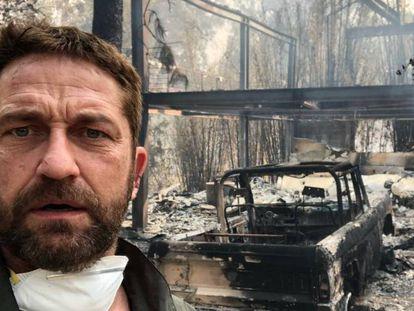 O ator e produtor, Gerard Butler, junto a sua casa destruída em Malibu. No vídeo, mais de 30 mortos e 100 desaparecidos no incêndio que afeta a Califórnia.