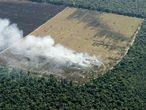 Deforestación en el estado brasileña del Mato Grosso para preparar la tierra para cultivar.