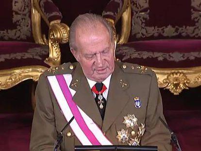 O rei Juan Carlos durante seu discurso/(EFE/Vídeo ATLAS)