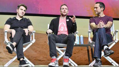Os três fundadores do Airbnb, Brian Chesky, Joe Gebbia e Nathan Blecharczyk.