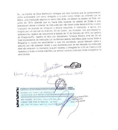 Depoimento de Lia Martins registrado em cartório.