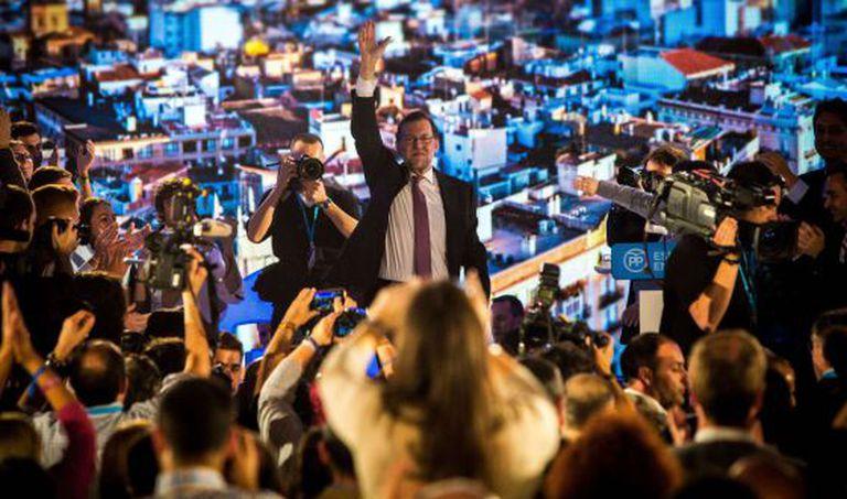 Mariano Rajoy em um comício do PP.