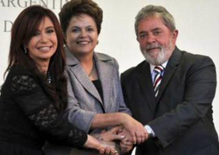 Cristina Kirchner, Dilma Rousseff e Lula.