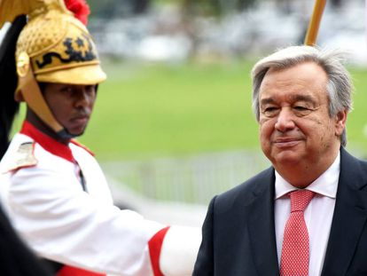 Antonio Guterres é recebido no Palácio do Planalto.
