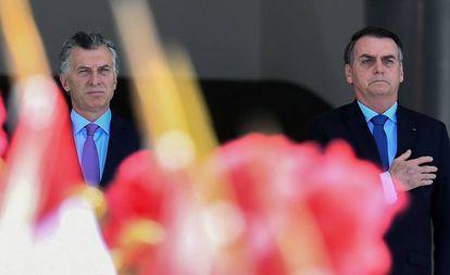 Os presidentes Mauricio Macri e Jair Bolsonaro, em encontro na manhã desta quarta em Brasília.