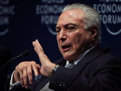 O presidente Temer fala no Fórum Econômico Mundial para a América Latina.