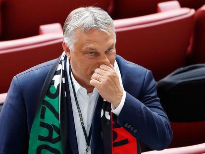 Viktor Orbán esta terça-feira durante o jogo da Eurocopa de futebol entre Hungria e Portugal, em Budapeste.