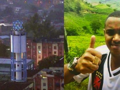 À esquerda, uma estrela de Davi no Complexo de Israel; à direita o traficante Álvaro Malaquias Santa Rosa, vulgo Peixão