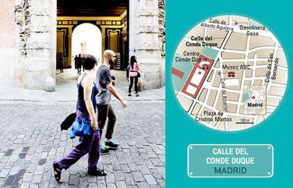 A entrada do centro cultural de Conde Duque, em Madri.