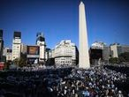 People protest the government's quarantine policies to contain COVID-19 by the Obelisk monument in Buenos Aires, Argentina, Monday, Aug. 17, 2020. Protesters said they consider the restrictions to be a breach of their personal freedom. (AP Photo/Natacha Pisarenko)