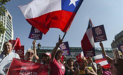 Manifestação contra a reforma constitucional chilena, no sábado passado.